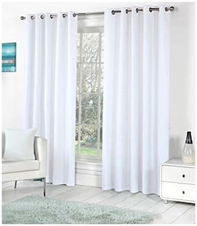 "ALAGH FASHIONS Eyelet Fancy Polyester 2 Piece Door Curtain Set - 84""x48"""