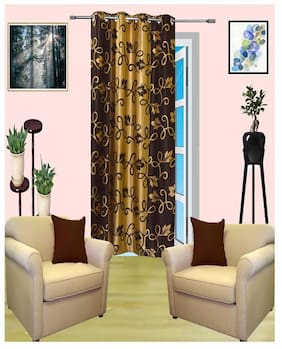 Alagh Fashions Polyester Door Semi Transparent Multi Regular Curtain ( Eyelet Closure , Printed )