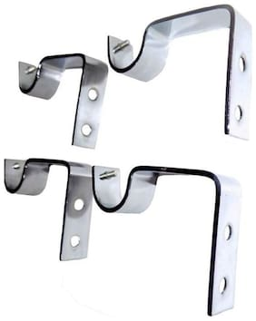 Alagh Fashions Silver Rod Rail Bracket  (Pack of 4)