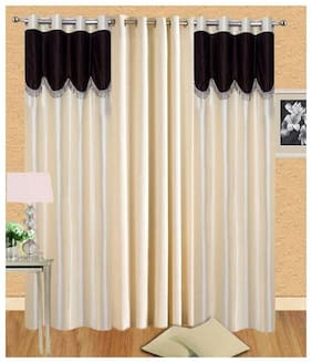 Alagh Fashions Polyester Door Semi Transparent Multi Regular Curtain ( Eyelet Closure , Plain )