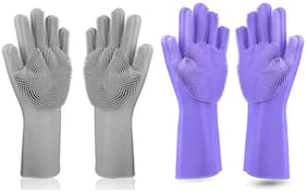 Alciono Magic Dishwashing Gloves with Scrubber;Silicone Cleaning Reusable Scrub Gloves for Wash Dish;Kitchen;Bathroom