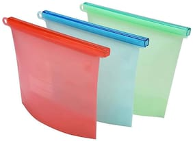 Alciono Silicone Food Storage Container Organiser Bag 1LTR | Airtight | Ziplock | Heat and Cold Resistant | Reusable Vacuum Food/Snack/Vegetable/Meat Storage for Fridge and Microwave Also (3)