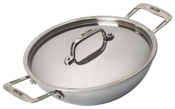 Alda Induction Friendly Tri Ply Stainless Steel Wok Pan or Kadhai with Lid   30 cm by Glen Appliances