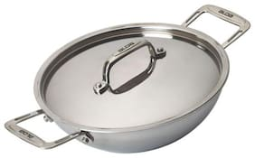 Alda Induction Friendly Tri Ply Stainless Steel Wok Pan or Kadhai with Lid - 22 cm
