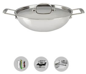 9c43c404812 Alda Try Ply Stainless Steel Wok Pan With Lid 20 Cm