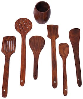 ALL CRAFTS ART Set of 7  Wooden Spoon & Spatula Cooking Kitchen Utensils Set with Stand