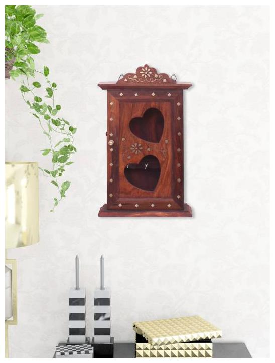 6 Hooks Decorative Key Rack Wooden Key Cabinet for Entrance with Cover