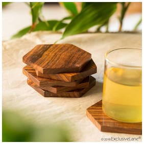 all crafts art Wooden Handcrafted Premium Quality Coaster Set (Brown)