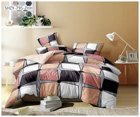 ALLIANCE Cotton Geometric King Size Bedsheet 400 TC ( 1 Bedsheet With 2 Pillow Covers , Multi )