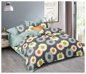 ALLIANCE Cotton Floral King Size Bedsheet 400 TC ( 1 Bedsheet With 2 Pillow Covers , Multi )