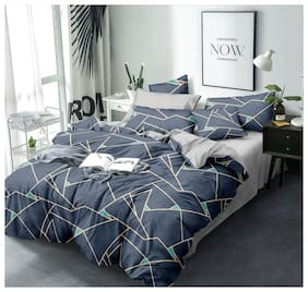 ALLIANCE Cotton Checkered King Size Bedsheet 400 TC ( 1 Bedsheet With 2 Pillow Covers , Multi )