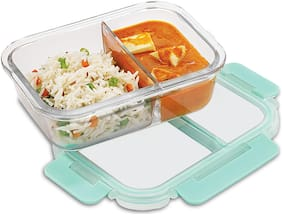 ALLO 1 Container Glass Lunch Box Set of 1 ( Transparent ,  580 ml )