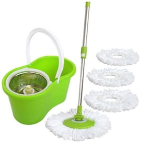 Allwin Home Cleaning 360 ° Spin Floor Cleaning Easy Advance Tech Bucket PVC Mop & Rotating Steel Pole Head with 4 Microfiber Refill Head Mop Set