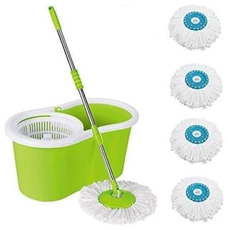 Allwin Home Cleaning 360 deg Spin Floor Cleaning Easy Advance Tech Bucket & Rotating Steel Pole Head with 4 Microfiber Refill Head (Light Green)