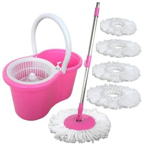 ALLWIN Mop Floor Cleaner with Bucket Set Offer with Big Wheels for Best 360 Degree Easy Magic Cleaning, Green with 5 Microfiber