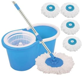 ALLWIN Mop Floor Cleaner with Bucket Set Offer with Big Wheels for Best 360 deg Easy Magic Cleaning, Green with 6 Microfiber