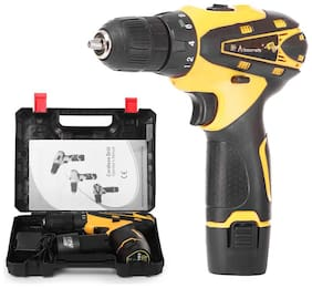 ALLWIN Multi-Function Drill Plastic Cordless Drill Screw Driver 10mm with Batteries & Two Speed Control - LED Light Guided - Keyless Chuck - Reverse Forward Motion - 12V- Lithium-Ion 1400 mAh.