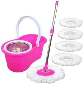 ALLWIN's 360 Degree Spin Bucket Mop (COIN) with 5 MicrofiberHeads