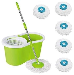 ALLWIN's Home Cleaning 360° Spin Floor Cleaning Easy Advance Tech Bucket PVC Mop & Rotating Steel Pole Head with 5 Microfiber Refill Head (Light Green)