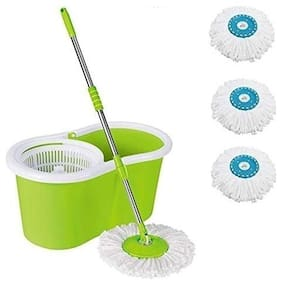 ALLWIN's Home Cleaning 360° Spin Floor Cleaning Easy Advance Tech Bucket PVC Mop & Rotating Steel Pole Head with 3 Microfiber Refill Head (Light Green)