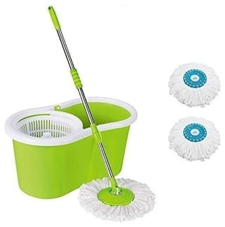 ALLWIN Home Cleaning 360° Spin Floor Cleaning Bucket Mop  with 2 Microfiber Refill -Light Green