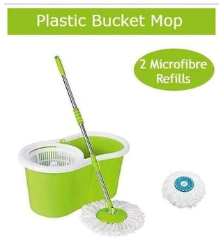 ALLWIN Home Cleaning 360° Spin Floor Cleaning Bucket Mop with 1 Extra Microfiber Refill -Light Green