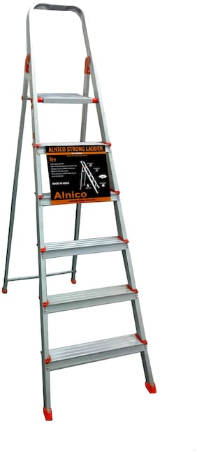 Brancley Aluminium 6 Steps Ladder ( Silver , Front Step )