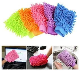 alpha.sm Double Sided Microfiber Hand Gloves Car Window Washing Kitchen Dust Cleaning Glove Assorted Colors (Pack of 5Pcs)