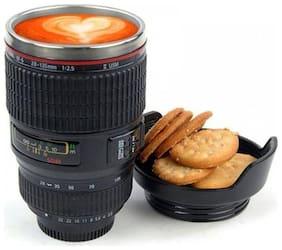 Amazing Camera Lens Coffee Mug Flask With Cookie Holder, Black