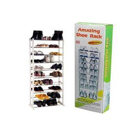Amazing Stainless Steel And Plastic White Shoe Rack