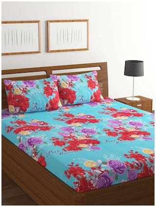 9b1df3ed72 Buy Bombay Dyeing Amber Microfiber Double Bedsheet with 2 Pillow ...