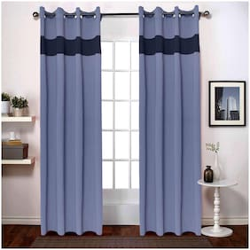 American-Elm 2 Panel Dove and NavyBlue Imported Premium two Colour Room Darkening Blackout Curtains For Window (137 cm (54 inch) x 152 cm (60 inch))