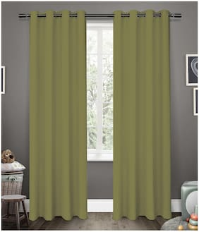 American-Elm Glorious GreenOlive Grommet 2 Panel Blackout Curtains | Window- (137 cm (54 inch) x 152 cm (60 inch))
