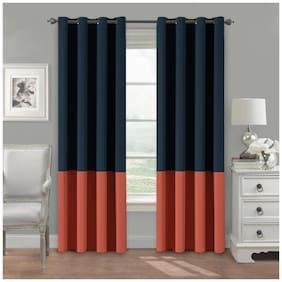 American-Elm Set Of 2 Both Sided DarkBlue-Pink Color Room Darkening Blackout Twins Curtains | Window (137 cm (54 inch) x 152 cm (60 inch))
