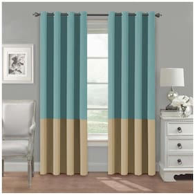 American-Elm Set Of 2 Both Sided Blue-LightBeige Color Room Darkening Blackout Twins Curtains | Window (137 cm (54 inch) x 152 cm (60 inch))