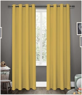 American-Elm Glorious Yellow Grommet 2 Panel Blackout Curtains   Window- (137 cm (54 inch) x 152 cm (60 inch))