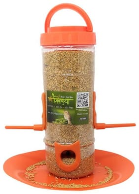 Amijivdaya medium bird feeder Orange ( pack of 1)