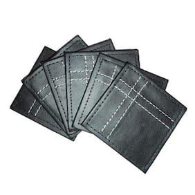 Amita's Home Furnishing Black Leather Stitch 6 Pcs Coaster Set