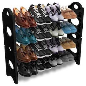 Ampereus Foldable Shoe Rack with 4 Shelves (Plastic Rod)