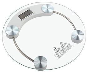 AmtiQ Personal Weight Machine Thick Glass 8mm 150kg Round Weighing Scale