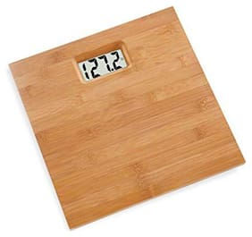 AmtiQ Wooden Body 135Kg Metal/Glass/Stainless Steel BathroomWeighing Scale/Machine