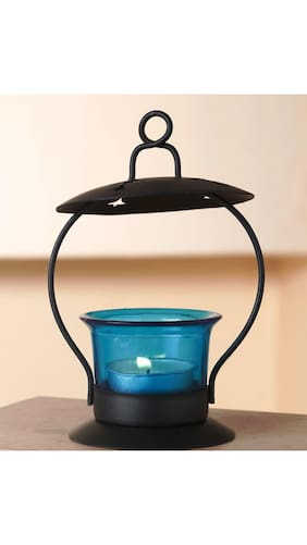 Buy anasa decorative hanging tealight candle holder t light glass anasa decorative hanging tealight candle holder t light glass and metal blue 53 inch junglespirit Images