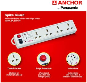ANCHOR - 4 Universal Socket Shutter with Single Switch