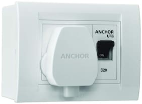 Anchor Modular Ac Box With 25Amps Single Pole Mcb;Enclosure And Heavy Duty Isi Plug Top (White)