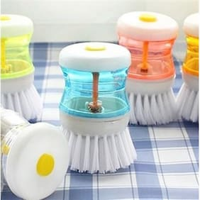 And Retails Cleaning Brush With Liquid Soap Dispenser  Self Dispensing Cleaning Brush (Colours As Per Availability)