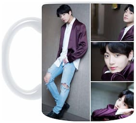 "AngaarLook ""BTS JUNGKOOK COLLAGE"" Printed 350ml Ceramic Mug"