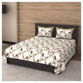 Anika Creations Cotton Printed King Size Bedsheet 300 TC ( 1 Bedsheet With 2 Pillow Covers , Multi )