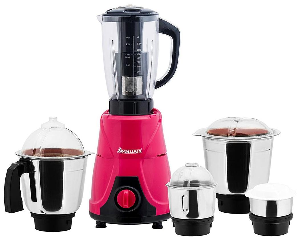 ANJALIMIX Juicer Mixer Grinder MOJO 600 WATTS With 5 Jars (Magenta & Black) DRY WET CHUTNEY FILTER JUICER & MINI SPICE GRINDER