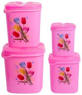 Antic 4000 ml Pink Plastic Container Set - Set of 4