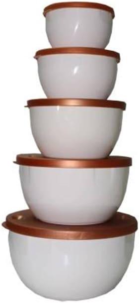 Antic 2500 ml White Plastic Container Set - Set of 5